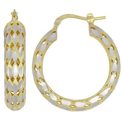 Pompeii3 14K Yellow Gold Classic High Polished Facet Cut Womens Hoops Earrings
