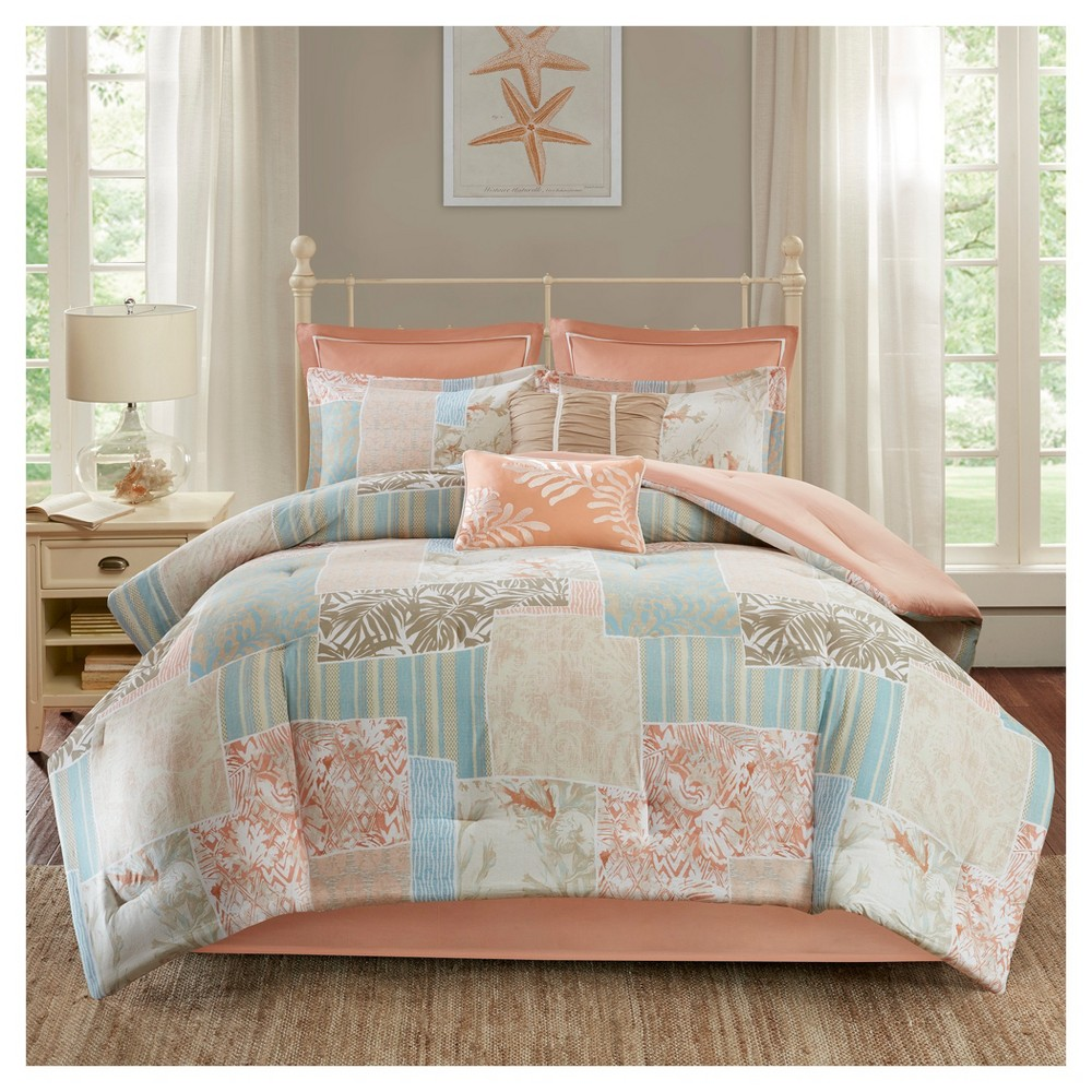 Coral (Pink) Sea Isle Cotton Comforter Set (King) 8pc