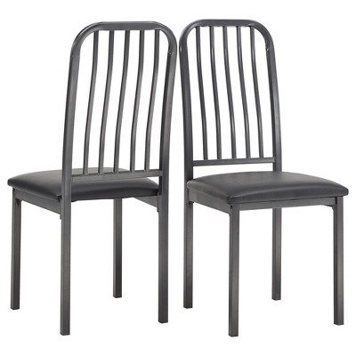 Set of 2 Gabena Metal and Leather Dining Chairs Black - Inspire Q