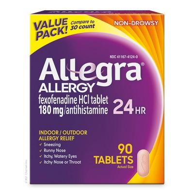 Allegra Fexofenadine 24 Hour Allergy Relief Tablets - 90ct