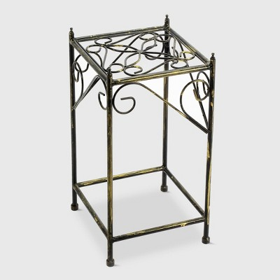 Medium Square Iron Plant Stand Black/Gold - Ore International