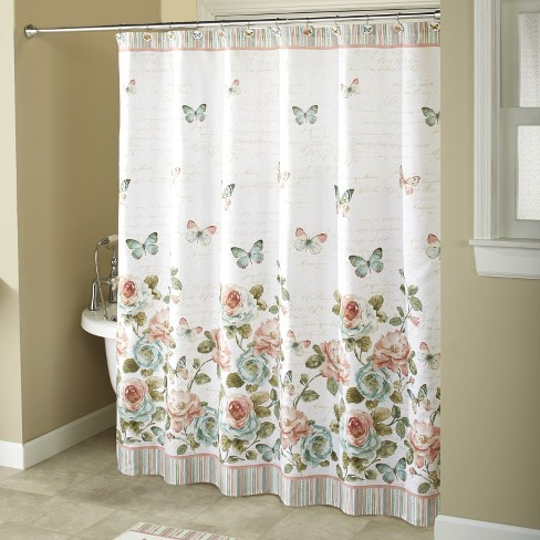 Lakeside Rose Garden Bathroom Hanging, Country Decor Shower Curtains