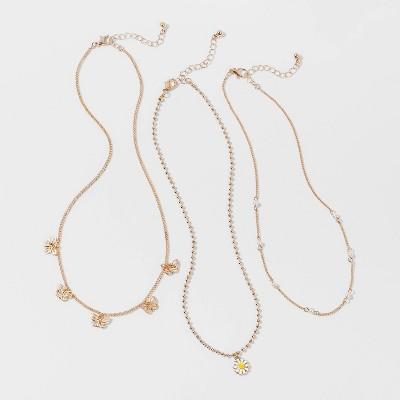 Girls' 3pk Daisy and Butterfly Necklace Set - Cat & Jack™