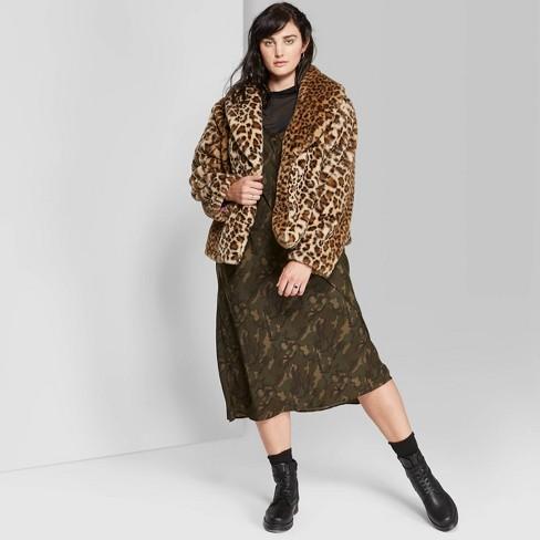 first rate quality first sale online Women's Plus Size Leopard Print Long Sleeve Short Faux Fur Coat - Wild  Fable™ Gognac