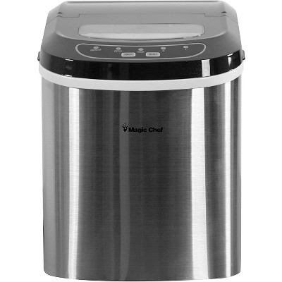 Magic Chef MCIM22ST Portable Home Countertop Ice Maker with Settings Display, 27 Pounds Per Day, Stainless Steel