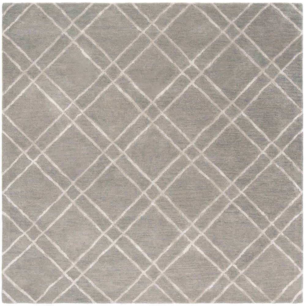 6'X6' Crosshatch Tufted Square Area Rug Gray/Silver - Safavieh
