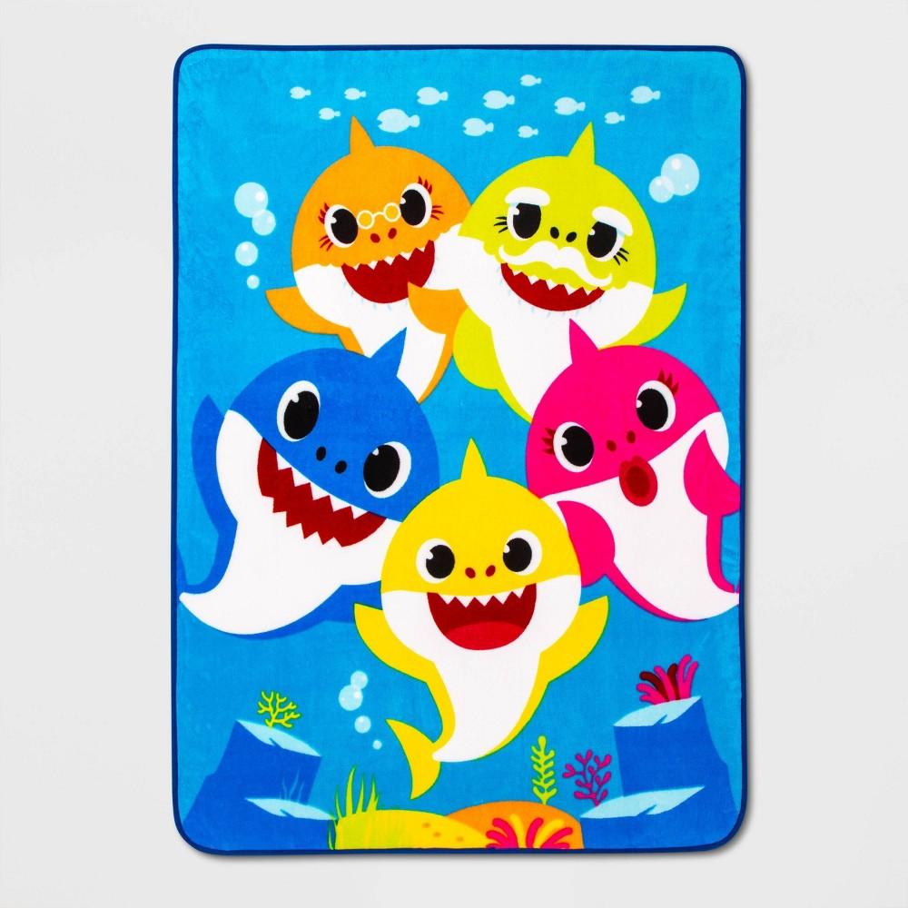 "Image of ""Pinkfong Baby Shark 46""""x60"""" Shark Bait Throw Blanket"""