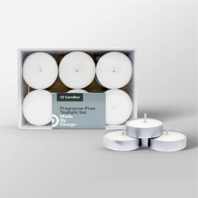 "3.1"" x 1.5"" 12pk Unscented Tealight Candle Set White - Made By Design™"