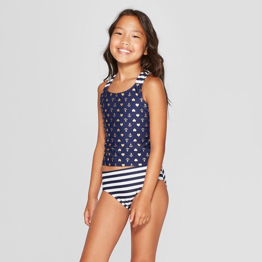 Plus Size Girls' Sailor Girl Tankini Set - Cat & Jack Navy L Plus, Blue