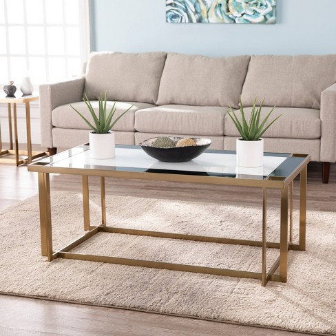 Magdoll Contemporary Mirrored Cocktail Table Gold Aiden Lane Target