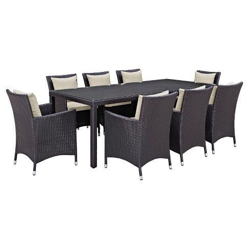 Convene 9pc Rectangle All-Weather Wicker Patio Dining Set - Modway - image 1 of 7
