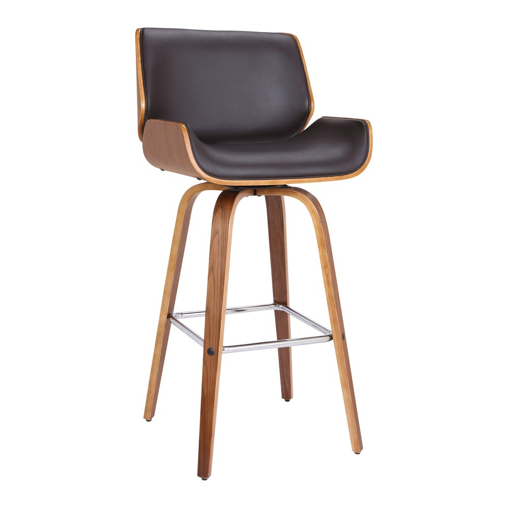 26 Armen Living Tyler Mid Century Swivel Counter Height Barstool Brown, Brown Faux