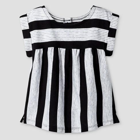 Baby Girls' Striped Babydoll T-Shirt - Cat & Jack™ Black/ White 18M - image 1 of 1