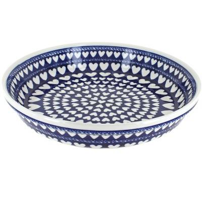 Blue Rose Polish Pottery Valentina Pie Plate