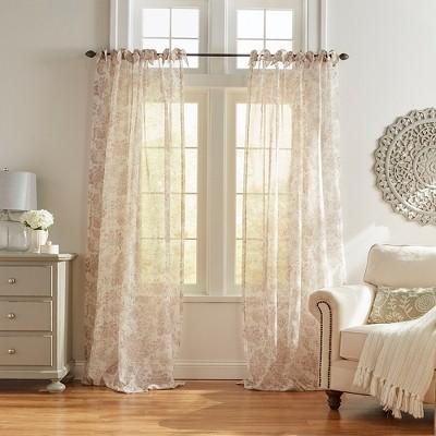 Westport Floral Tie-Top Sheer Window Curtain Panel - Elrene Home Fashions