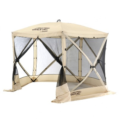 CLAM Quick-Set Venture 9 x 9 Foot Portable Pop Up Outdoor Camping Gazebo Screen Tent 5 Sided Canopy Shelter with Ground Stakes and Carry Bag, Tan
