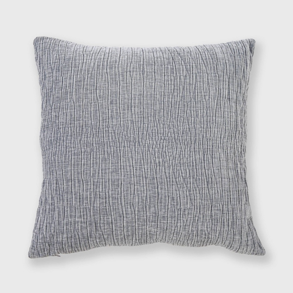 "Image of ""20""""x20"""" Textured Washed Chenille Woven Throw Pillow Dusty Blue - Evergrace"""
