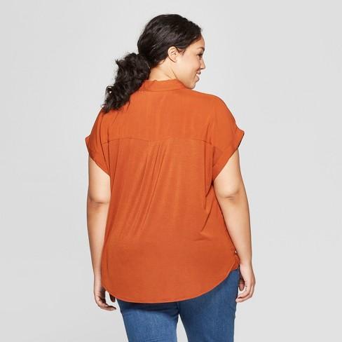 326416abe70 Women s Plus Size Short Sleeve Collared Mixed Media Popover Button-Down  Shirt - Ava   Viv™
