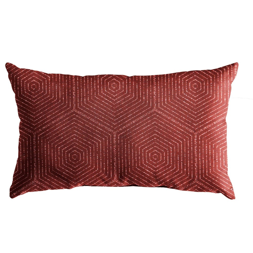 "Image of ""12""""x24"""" Sunbrella Outdoor Throw Pillow Red"""