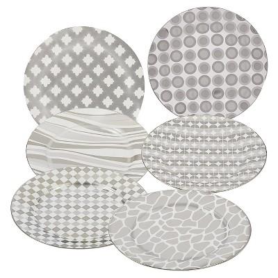 Assorted Elegance Tapered Dessert Plates 8  Silver Plated Set of 6 - Certified International