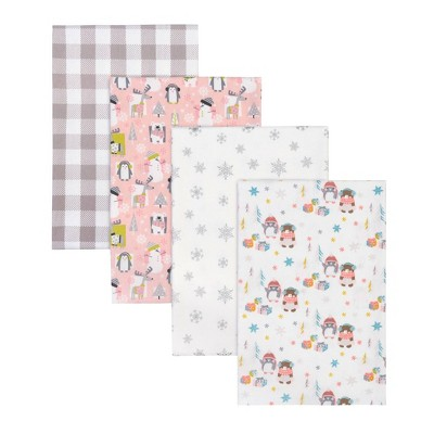 Trend Lab Winter Pals Flannel Receiving Blankets - 4pk