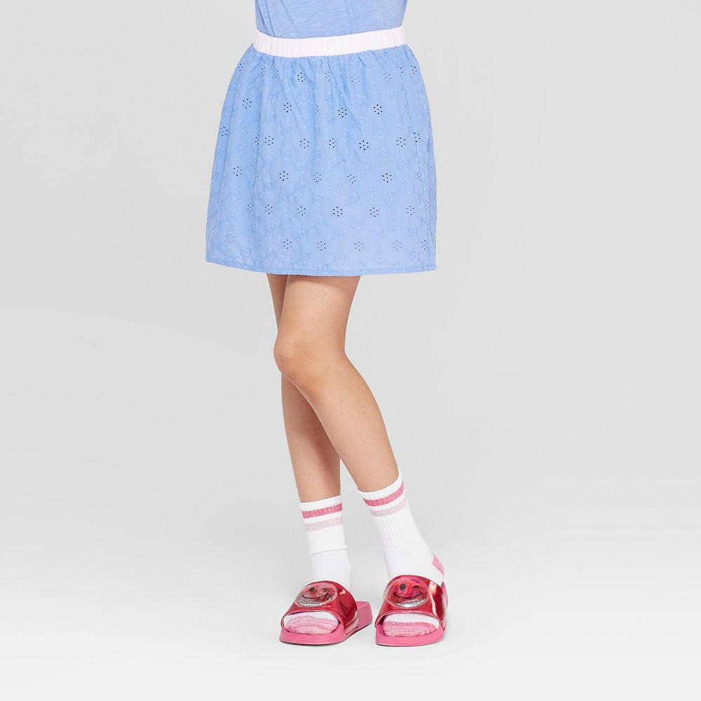 641717559 Girls Floral Eyelet and Tulle Reversible Skirt Cat Jack Blue XL