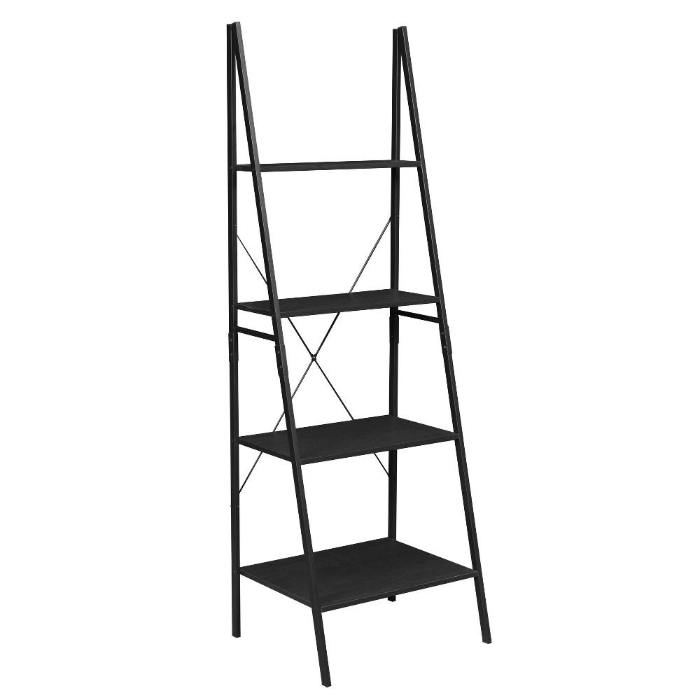 72 Nomad Ladder Bookcase Black Niche