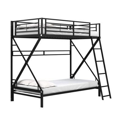Twin Over Twin Novah Metal Bunk Bed Black - Room & Joy