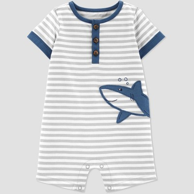 Baby Boys' Shark Embroided Stripe One Piece Romper - Just One You® made by carter's Gray/White 24M