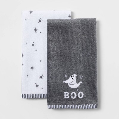 2pk Boo Halloween Hand Towel Set Gray - Hyde & EEK! Boutique™