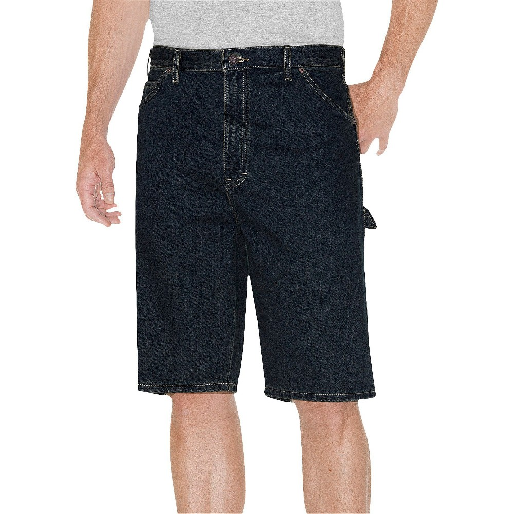 "Image of ""Dickies Men's Relaxed Fit 11"""" Carpenter Jean Shorts - Khaki Tint 30, Men's, Blue"""