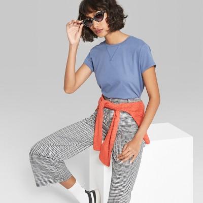 0da6fd905c Womens Short Sleeve Crew Neck Cropped T-Shirt Boxy - Wild Fable™ Blue M