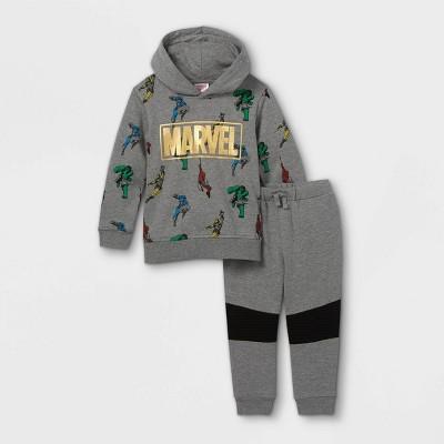 Toddler Boys' Marvel Fleece Hooded Sweatshirt and Jogger Pant Set - Gray