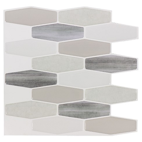 Decor 5 Pack Peel & Stick Mosaic Tile - Moon Long Hex - image 1 of 5