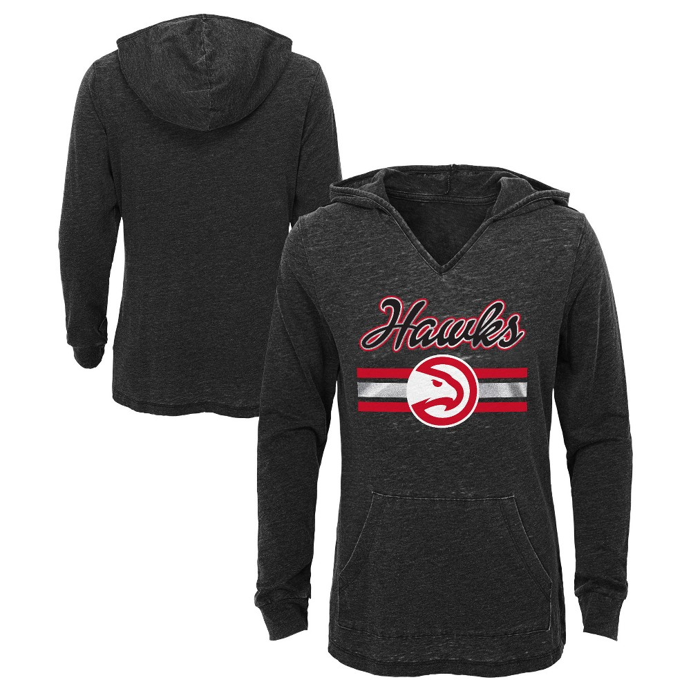 Atlanta Hawks Girls' Top of the Key Gray Burnout Hoodie XS, Multicolored