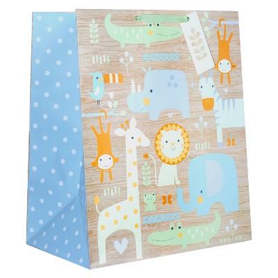 Xlarge Animals on Woodgrain Baby Shower Gift Bag - Spritz™