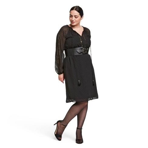 Women\'s Plus Size Sequin Long Sleeve Round Neck Dress - Altuzarra for  Target Black