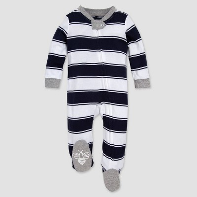 Burt's Bees Baby® Rugby Stripped Organic Cotton Sleep N' Play - Navy 3-6M