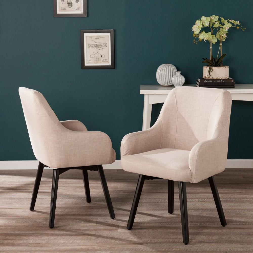 Image of 2pc Stineriss Swivel Arm Chair Warm Sand - Aiden Lane, Warm Brown