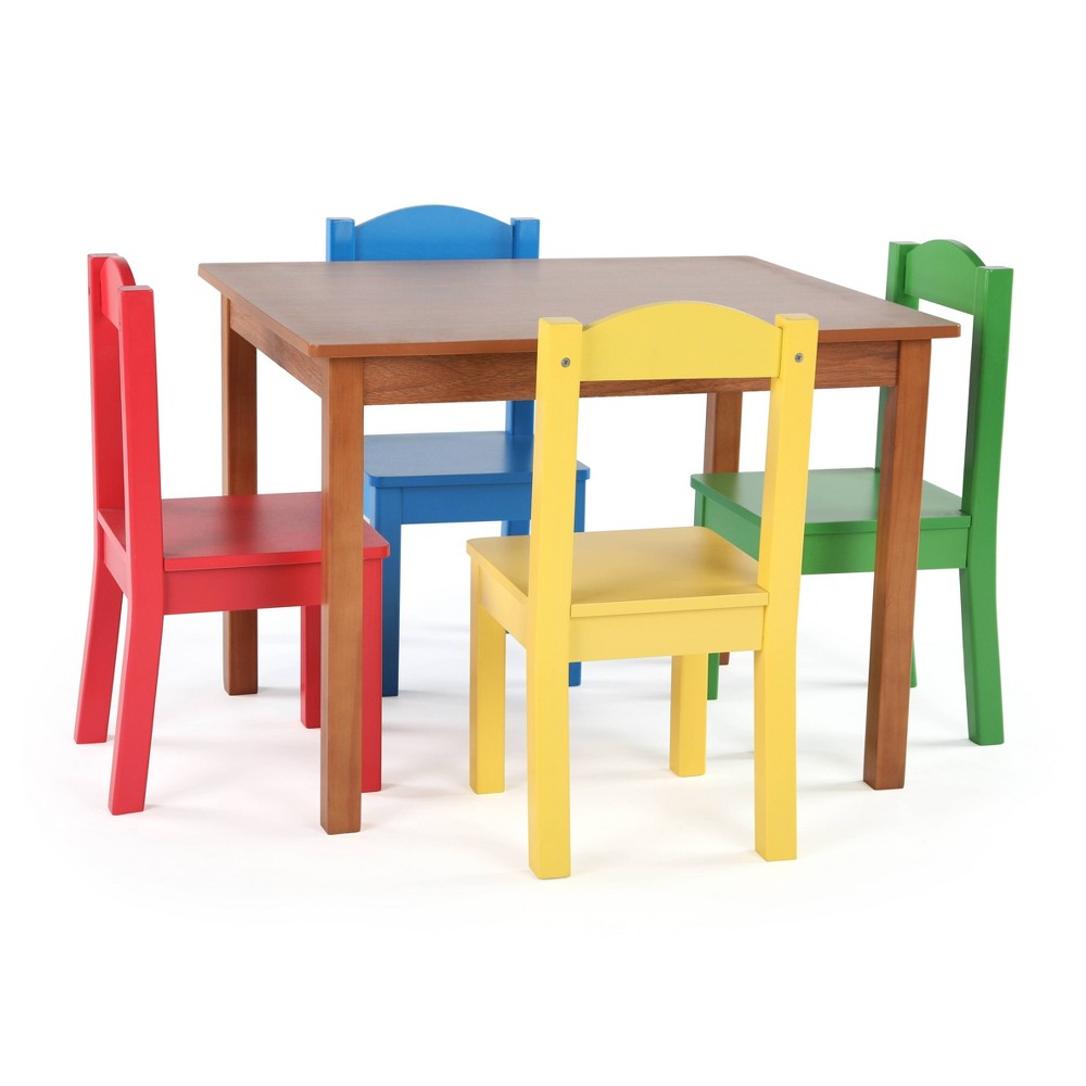 Image of 5pc Highlight Collection Wood Table & 4 Chairs Dark Pine/ Primary - Humble Crew