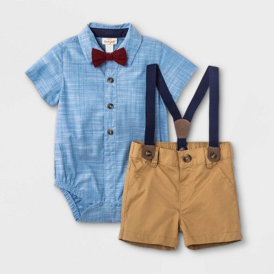 Baby Boys' Little Man Chambray Suspender & Shorts Set with Bowtie - Cat & Jack™ Blue 12M