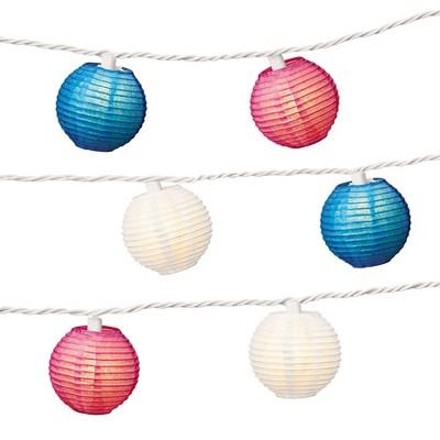 "3"" Paper Lantern String Lights - Red/White/Blue - Evergreen"