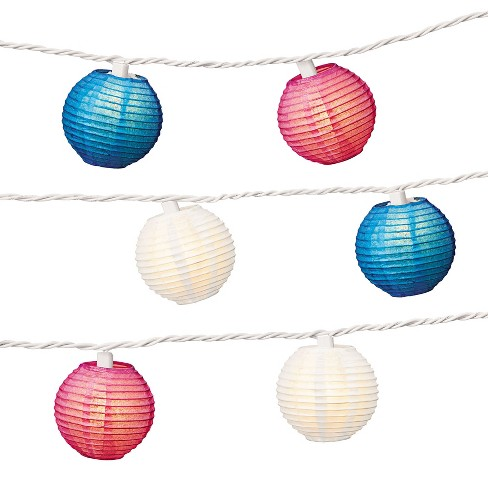 3 Paper Lantern String Lights Red White Blue Evergreen