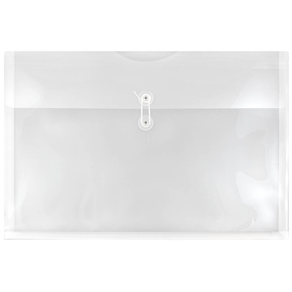 Jam Paper 12'' x 18'' 12pk Plastic Envelopes with Button and String Tie Closure, Booklet - Clear Poly Jam Paper 12'' x 18'' 12pk Plastic Envelopes with Button and String Tie Closure, Booklet - Clear Poly