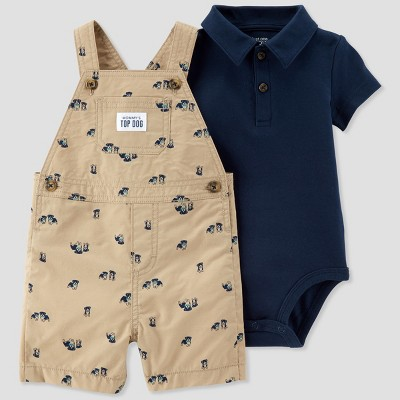 Baby Boys' 2pc Top Dog Shortall Set - Just One You® made by carter's Navy/Tan 18M