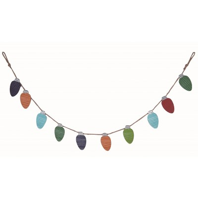 Transpac Metal 65 in. Multicolor Christmas Corrugated Lightbulb Banner
