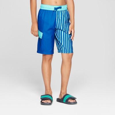 96444212fac8e Boys' Panel Stripe Swim Trunks - Cat & Jack™ Blue