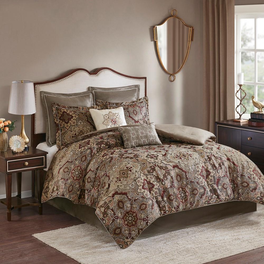 8pc California King Lyon Chenille Jacquard Comforter Set Red