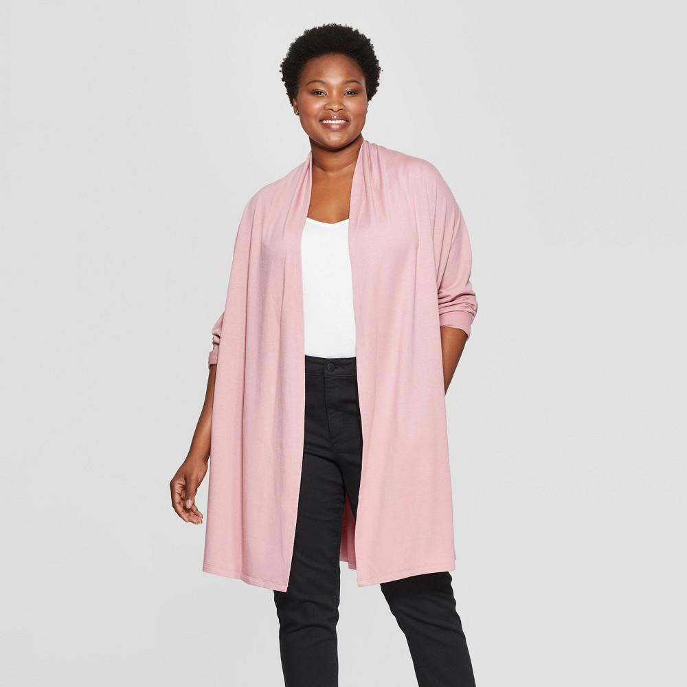 Women's Plus Size Long Sleeve Open Layering Cardigan - Ava & Viv Mauve (Pink) 3X