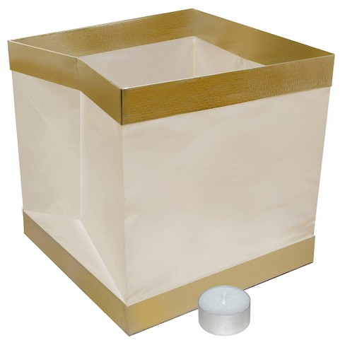 6ct Lumabase White with Gold Trim Floating Paper Lanterns - image 1 of 3